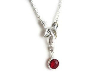 Ruby Red Jewel Leaf Necklace - Red and Silver Necklace - Drop Pendant - Faceted Round Jewel - Bridesmaid Necklace