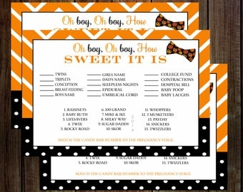 halloween baby shower game candy bar stages bow tie instant