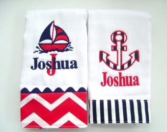 Baby Boy Personalized Burp Cloths with Anchor and Sailboat