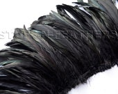 Wholesale/bulk feathers - IRIDESCENT Black rooster coque feathers, / 9.5-12 in (24-30 cm) long / FB56-9.5