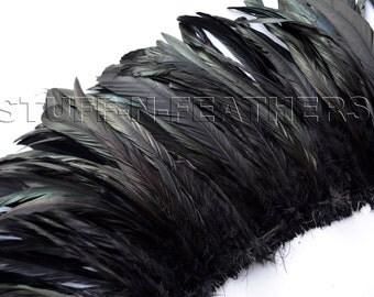 Wholesale/bulk feathers - IRIDESCENT Black rooster coque feathers, long black rooster tail feathers / 9.5-12 in (24-30 cm) long / FB56-9.5