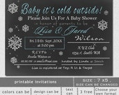Printable blue chalkboard Baby it's cold outside snowflakes winter baby shower couples Baby Shower Invitation Template