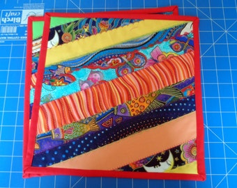 Laurel Burch Fabric Placemats - Quilted Table Placemats - Dinning Table Placemats - Dinner Placemats - Patchwork Placemats