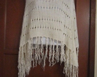 Vintage White Poncho with Hanging Tassels.