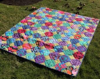 Floral Lap Quilt, Colorful Kaffe Fassett fabrics