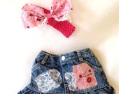 SALE 6 MTH Je t'aime Upcycled Jean Skirt w Headband...Hippie Chic,Paris, Shabby Chic, je t'aime, French