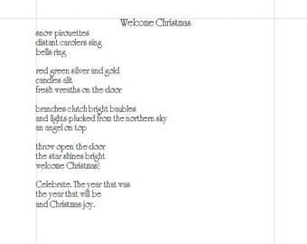 Welcome Christmas Christmas Poem PDF Will Email to You