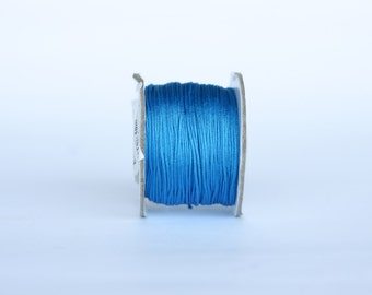 cyan blue Chinese Knotting Cord,  0.8 mm Jewelry cord, bracelet cord, Necklace cord, nylon beading Cord, 11 yards (10 meters), cord string