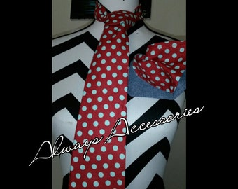 Red and Light Blue Polka Dot Tie Set