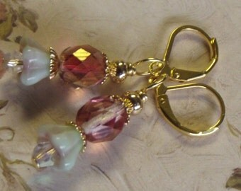 czech glass earrings pink faceted pistachio gold plated flower leverback new Free US Shipping Gift boxed