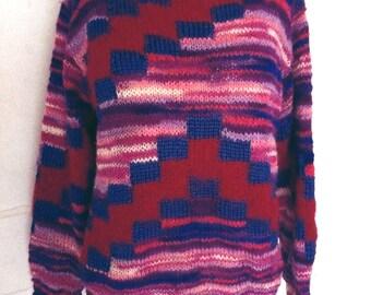 SALE // Stunning 70s Hand Knit Mixed Yarn Space Dye Geometric Psychedelic Op Art Sweater