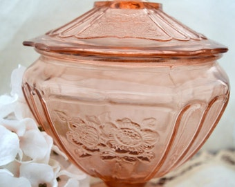 ON SALE Hocking Glass Company Mayfair Open Rose Depression Glass Covered Candy Dish, Compote,  c. 1931-1937