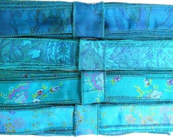 Blue Silk Sari Ribbon R84