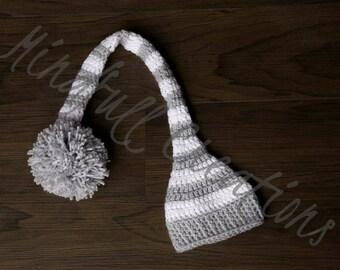 Newborn Crochet Gray and White Elf Hat