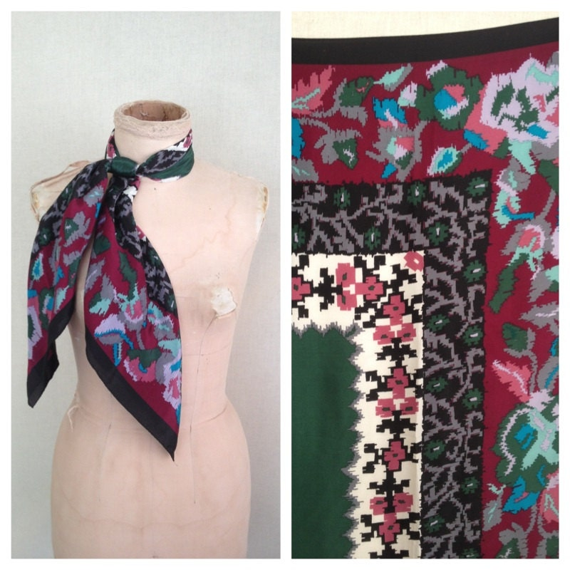 1960s oroton silk scarf vintage 60s floral scarf