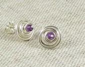 February Birthstone Jewelry, Sterling Silver Gemstone Spirals, Amethyst Birthstone Earrings, Silver Spiral Earrings, Item E474, E473