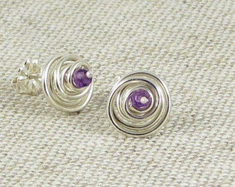 February Birthstone Jewelry, Sterling Silver Gemstone Spirals, Amethyst Birthstone Earrings, Silver Spiral Earrings, Item E474, E473