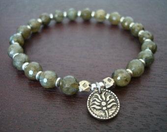 Women's Green Labradorite Lotus Mala Bracelet - White Bronze Lotus Mala Bracelet - Yoga, Buddhist, Jewelry, Meditation, Prayer Beads