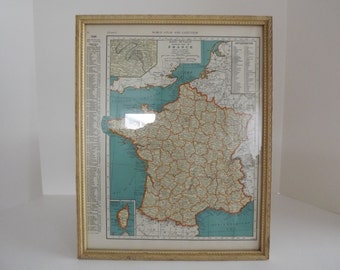 Vintage 1932 Framed Map Of France, The Rand McNally Atlas, 1932 Edition, Home Decor, Framed Wall Art, Educational Decor