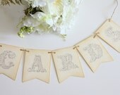 Cards Banner / Wedding / Signage / Reception / Decor / Vintage / Shabby Chic