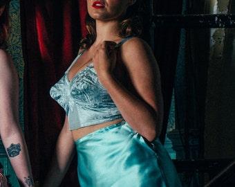 Aqua silk satin french knickers 1940s style