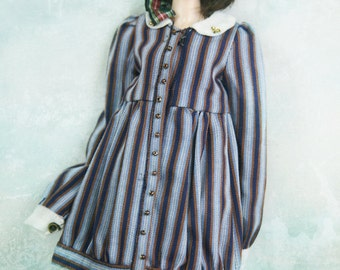 RYBG Creation - blue coffee stripes shirts dress Momoko or Nippon or Blythe or Azone or OB27 or YOSD or Jerryberry