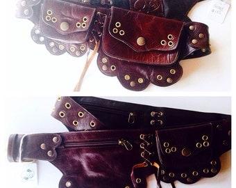 Sale Dark brown leather Lilac utility belt/ Fanny pack/ pocket belt/ belt bag/ burning man belt