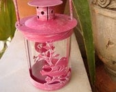 shabby raspberry pink,tin bird on branch design,small metal tea light/candle holder with handle.Shabby chic