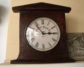 vintage French,wooden wall hanging or mantle,freestanding clock-dark dark solid wood,Roman numerals