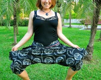 Capri Hilltribe Pants, Batik Cotton, Black with white Koi Mandala and beautiful Hmong Hilltribe details