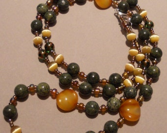Green Serpentine and Gold CatEye Handmade Bead Necklace