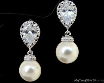 Wedding Earrings CREAM Pearl Earrings Cubic Zirconia Post Earrings Pearl Jewelry Bridal Earrings Silver Swarovski Ivory Pearls Earrings