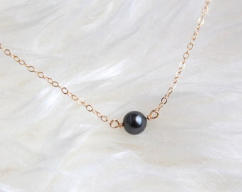 Pearl choker - 14k gold filled chain - black swarovski pearl necklace - delicate minimalist by fildee