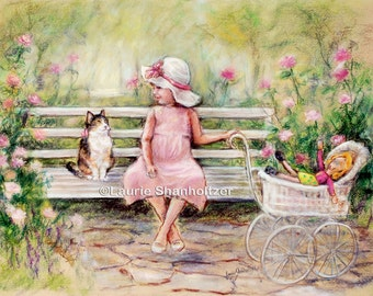 "Art for children, Flat archival canvas print, ""Chatting With My Friend""  Laurie Shanholtzer, Cat, kitten, little girl and kitty"