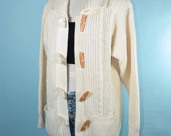 Vintage 70s Cream Preppy Cable Knit Boyfriend Cardigan Sweater/ Boho Hippie Wooden Button Slouchy Grandpa Style/ Cardigan Jumper M