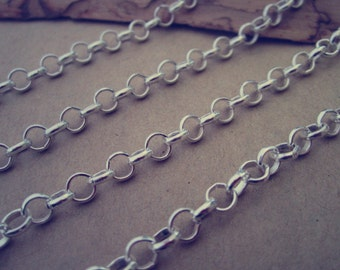 6.6ft(2m)  silver color circular pendant Chain 5mm