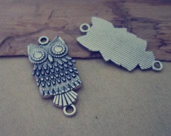 12 pcs Antique silver Owl Pendant charm 18mmx38mm