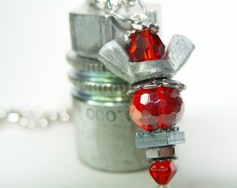 ROAD ANGEL - Deep Passion Red & Silver Upcycled Wingnut Rear View Mirror Angel Charm