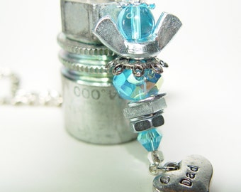 ROAD ANGEL - Baby Blue & Silver Upcycled Wingnut Rear View Mirror Angel with DAD Heart charm