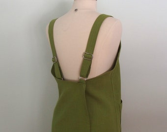 Olive Linen Japanese Pinafore Apron, Garden Apron, Artist Apron, Crossback Apron, Short or Long Length
