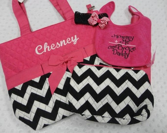 PERSONALIZED 5 Piece Chevron Diaper Bag Set with Name - Baby Girl Hot Pink Black Chevron Monogrammed Diaper Bag, Pouch, Changing Pad, Bib