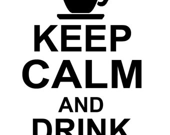 kitchen wall decal Keep Calm And Drink Coffee wall Decal Wall Art Vinyl Decal sticker decor