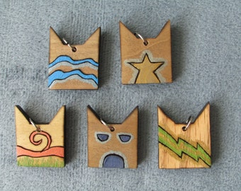 Warriors Inspired Painted Clan Wooden Burned Pendants