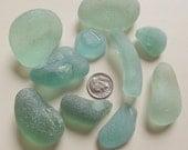 Large soft pale green and aqua sea glass shards
