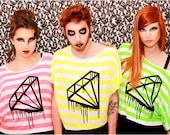 Black bleeding melting diamond tshirt fluo neon pink green yellow stripes