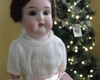 SALE! Antique German Bisque Doll 12 inch Excellent Condition Original Braided Wig and Shoes Blue Eyes