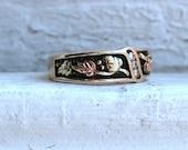 Vintage 10K Yellow Gold Diamond and Black Enamel Ring.