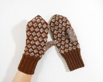Hand Knitted Mittens - Brown and White, Size Medium
