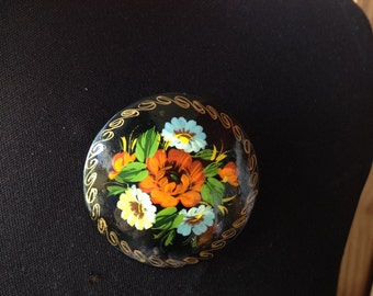 Vintage Wooden Painted Floral Broach