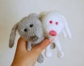 Pair Crochet bunnies Stuffed animal White and grey rabbit